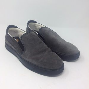 Moncler Grey Suede Plimsoll Slip On Shoes